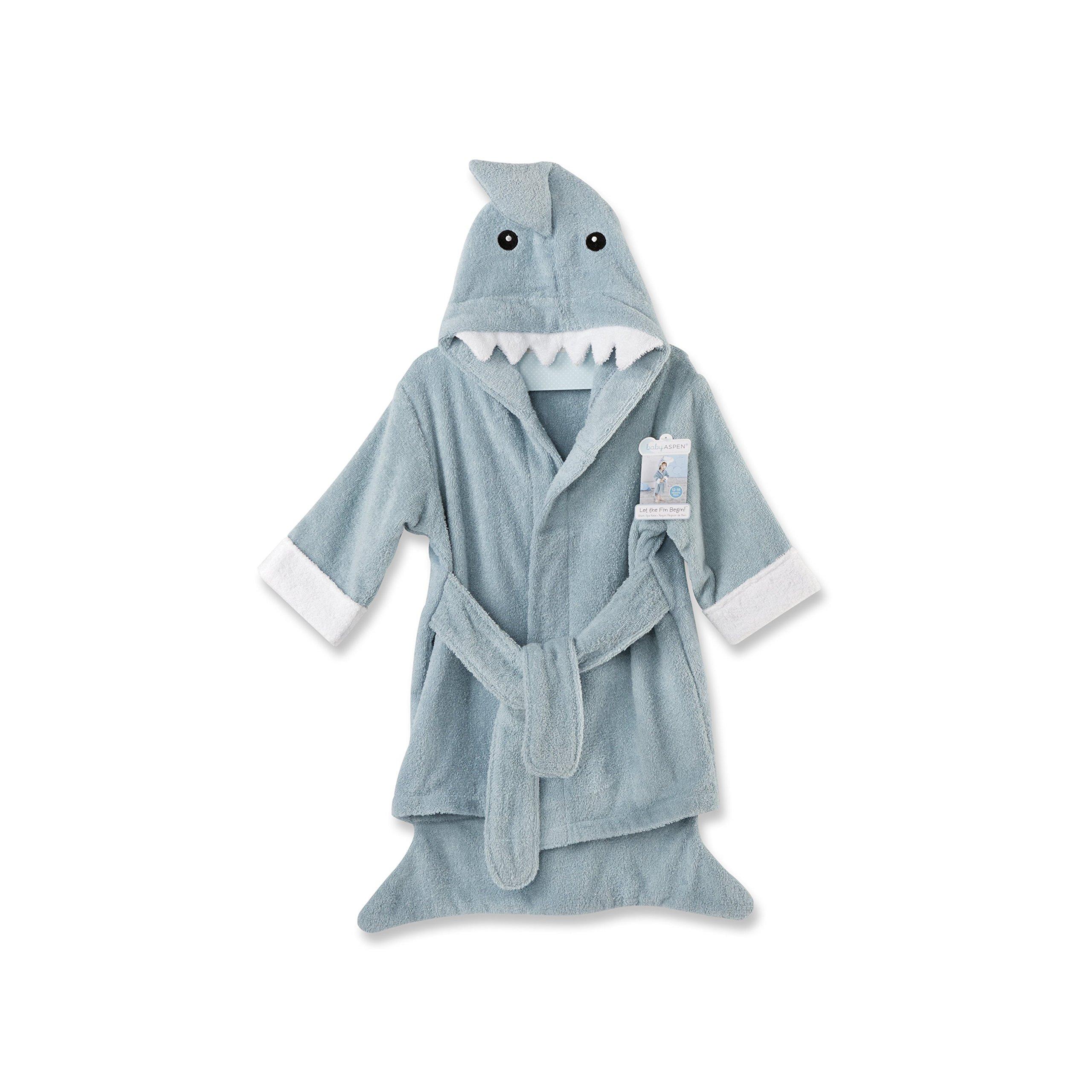 Baby Aspen Let The Fun Begin Blue Shark Robe, Blue, 12-18 Months by Baby Aspen