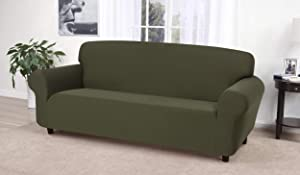 Madison Stretch Jersey Sofa Slipcover, Solid, Forest
