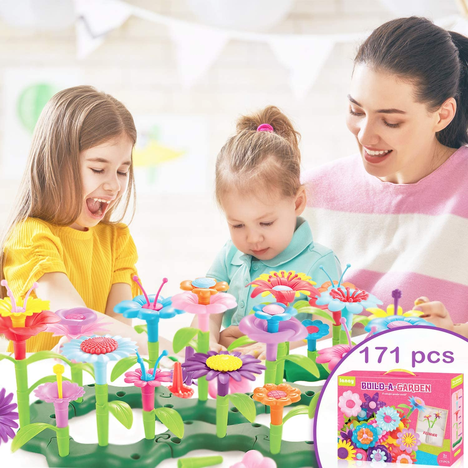 171 Pcs Flower Garden Building Toys Set for Unisex Kids, Stem Toys Build a Garden for Girls, Gifts for Birthday, Christmas, Easter, Toddler Activity Toys for 3 4 5 6 7 Year Old Kids, 2020 New Edition