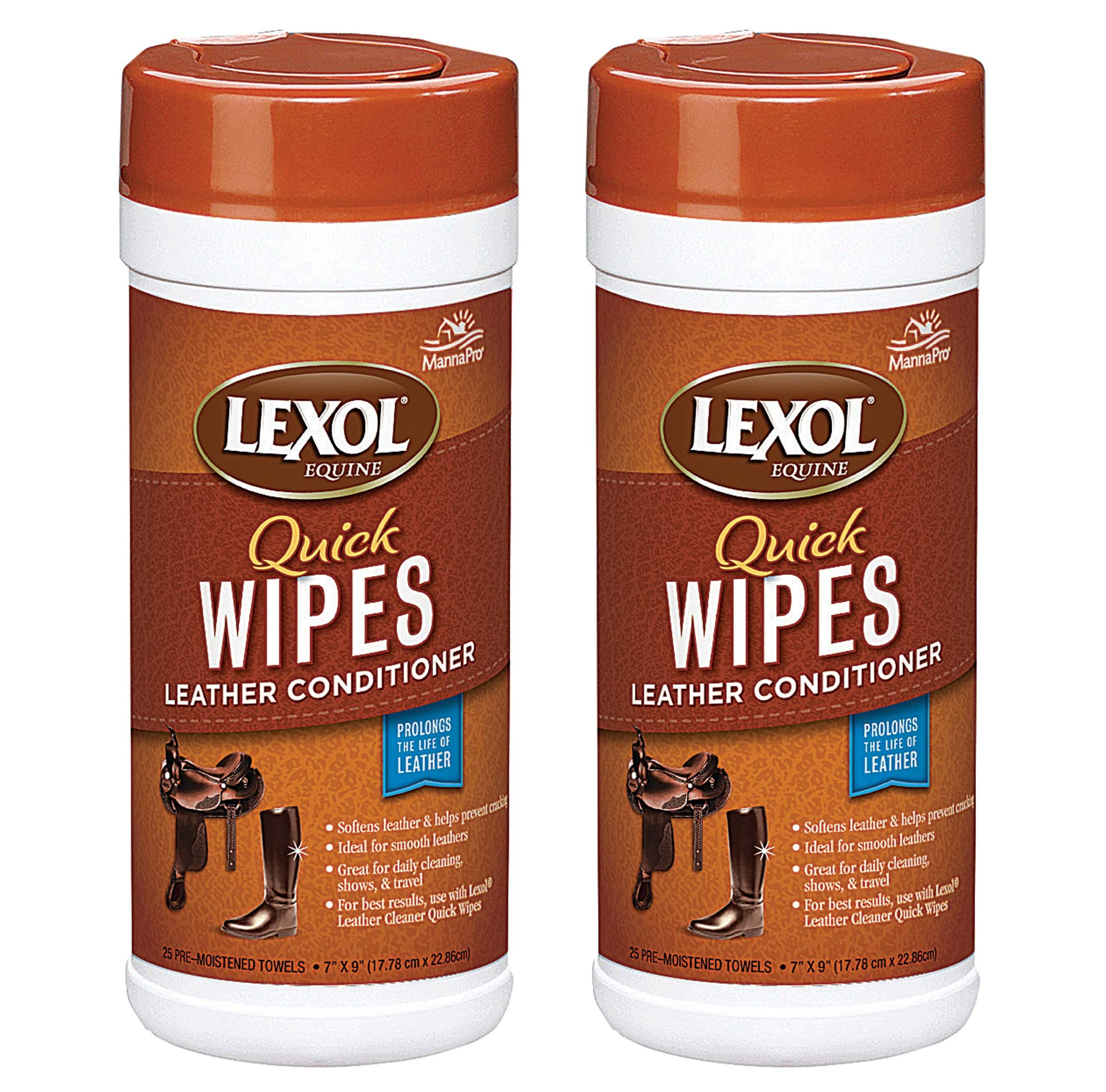 Lexol Equine Quick Wipes Leather Conditioner, 25 Count (2 Pack - 25 Count) by Lexol Equine