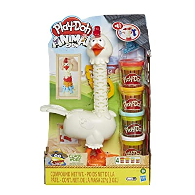 Play-Doh Animal Crew Cluck-A-Dee Feather Fun Chicken Toy Farm Animal Playset with 4 Non-Toxic Colors: Toys & Games