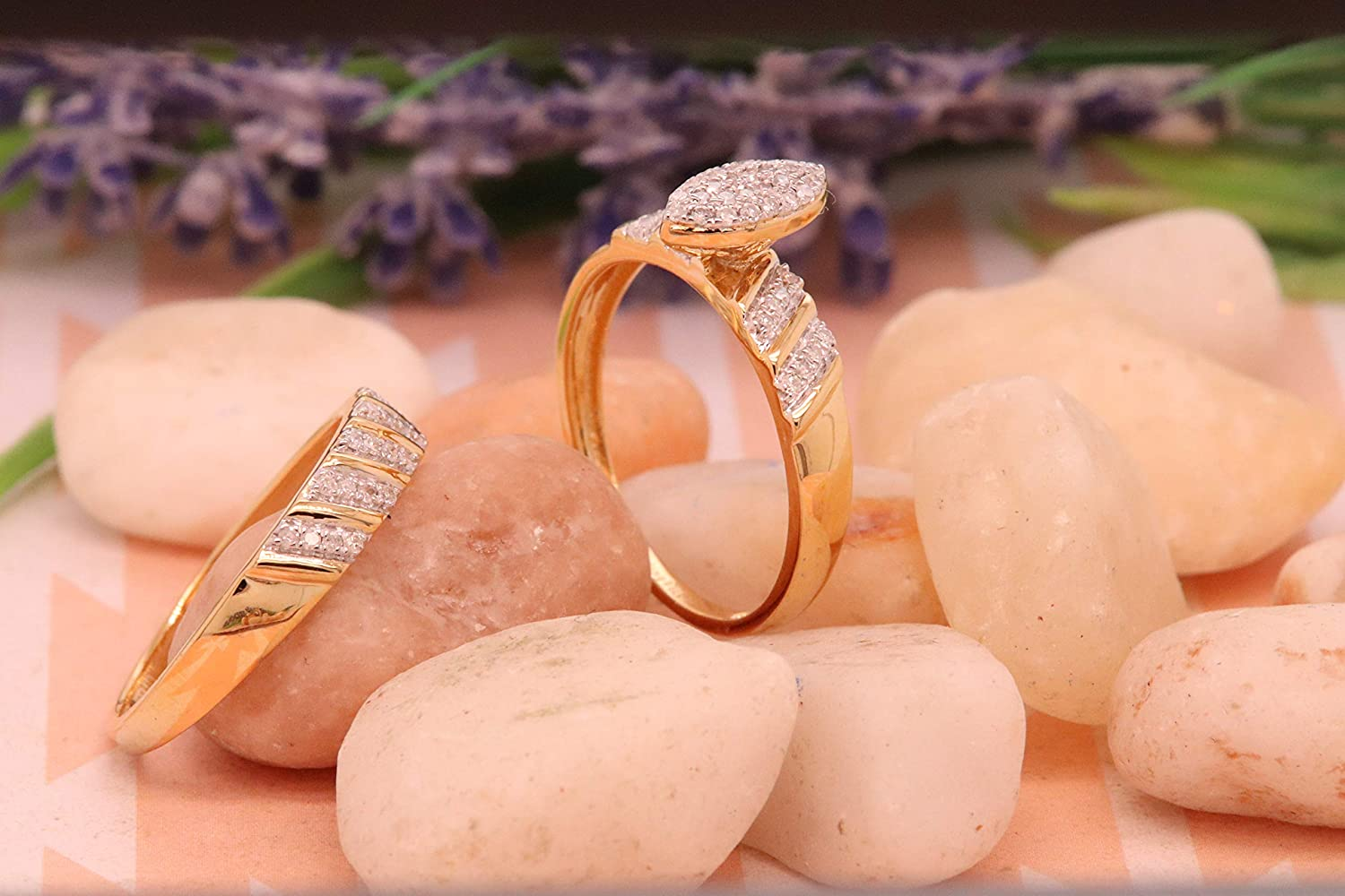 18K Yellow Gold Plated Sterling Silver ctw Round White Diamond Mens /& Womens Wedding Ring Trio Set Dazzlingrock Collection 0.40 Carat