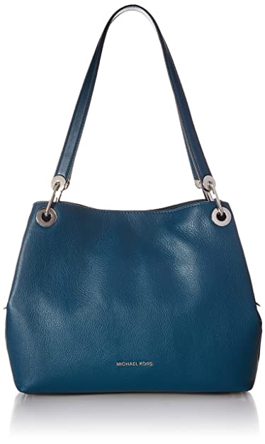 12debe5d81bd Michael Kors Raven Large Pebbled Leather Shoulder Bag- Teal  Handbags   Amazon.com