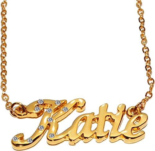 Katie Gold Plated Christmas Gifts Name Necklace and Bracelet Gift Set