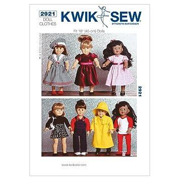 Kwik Sew Mustern k2921 Größe passt 18 Puppen Puppe Kleidung, weiß, 1 ...
