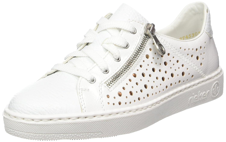 Rieker Damen M7928 Sneaker, Weiß (WeissBiancoBronze), 38