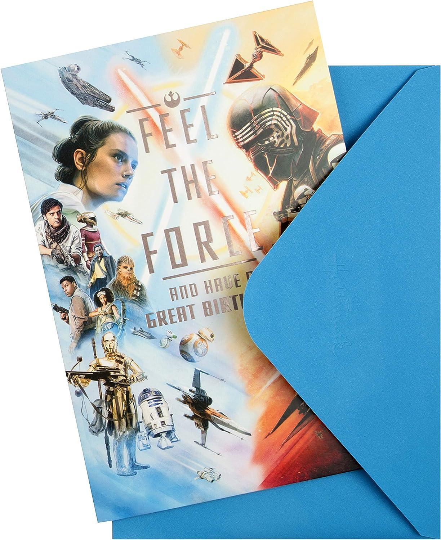 Tarjeta de cumplea/ños con dise/ño de h/éroes y villanos de Star Wars Hallmark