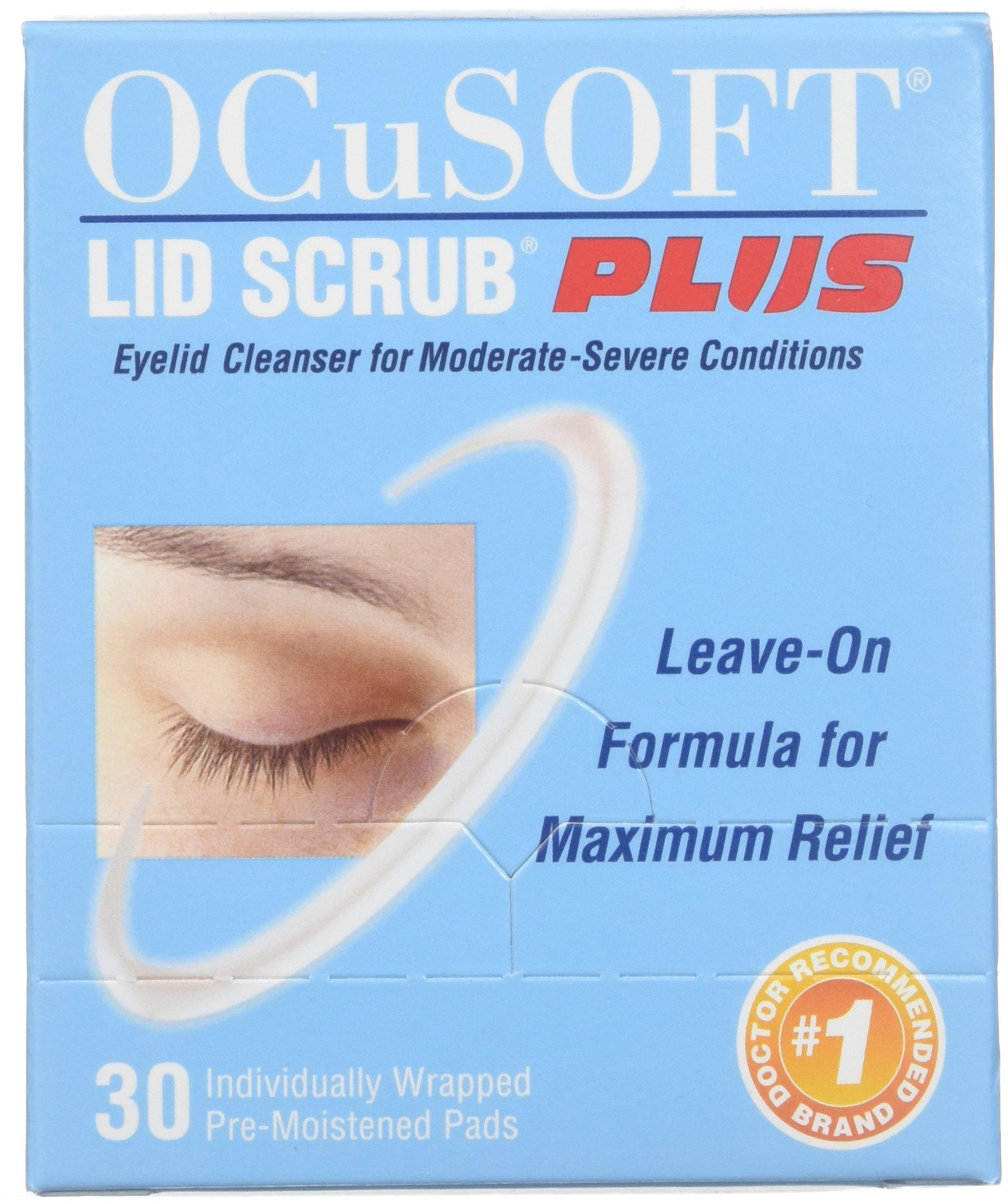 OCuSOFT Lid Scrub Plus, Pre-Moistened Pads, Individually Wrapped, 30 Pads (Pack of 2) by OCuSOFT