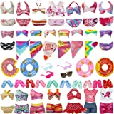 27 Pieces Doll Swimwear Beach Bathing Clothes Kit Including 10 Bikini Swimsuit 2 Leisurewear 2 Swimming Ring 3 Fashion Glasse