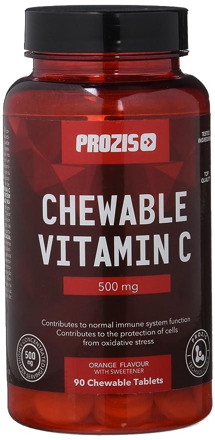 Prozis Vitamina C Comprimidos Masticables, Sabor Naranja - 500 mg, 90 Comprimidos