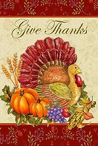 Toland Home Garden Thankful Turkey 28 x 40 Inch Decorative Give Thanks Harvest Thanksgiving House Flag
