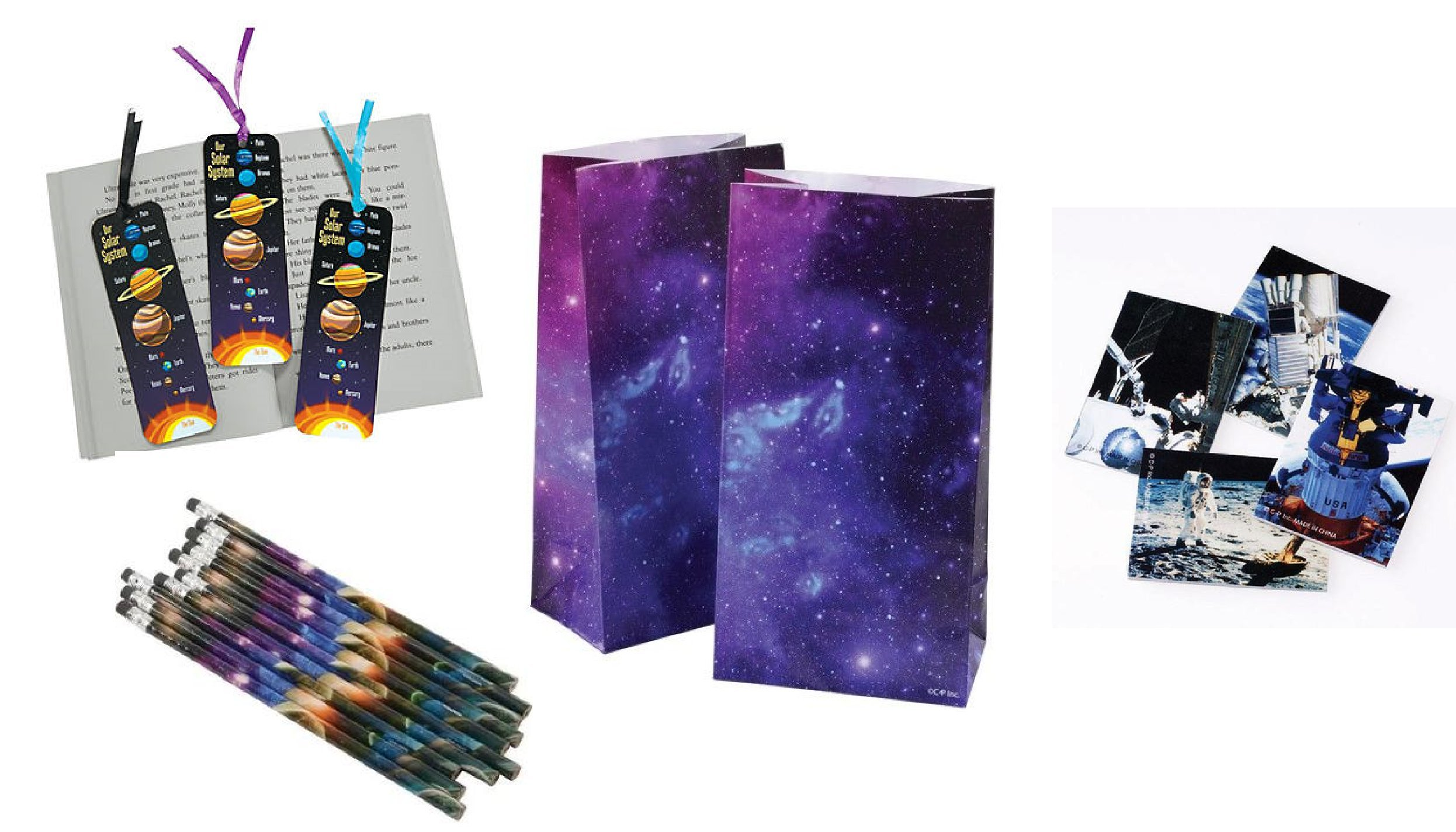 Awesome Space/Solar System Theme Party Pack - 48 Solar System Bookmarks/12 Space Pencils/12 Space Station Notebooks & 12 Space Goody Bags