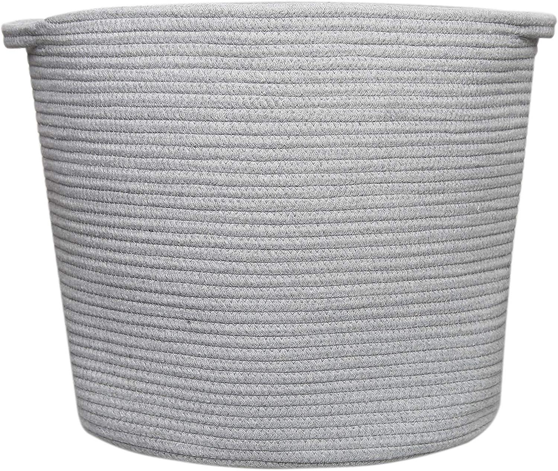 Grey-Clothes Basket with Handles, Laundry Basket, Hampers for Laundry, Cotton Rope Basket Grey, Woven Blanket Basket, Toy Basket, Floor Basket, Towel Basket, Environmental Protection Material