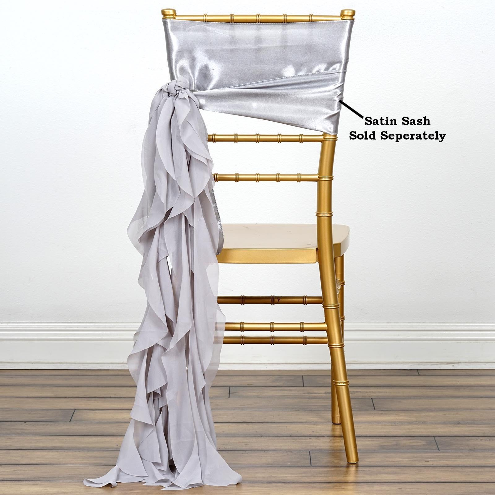 Efavormart 5pcs Chiffon Silver Curly Chair Sashes For Home Wedding Birthday Party Dance Banquet Event Decoration