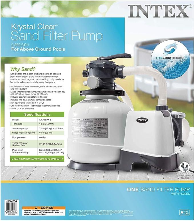 Amazon.com: Intex 26647EG - Bomba de filtro de arena (14.0 ...