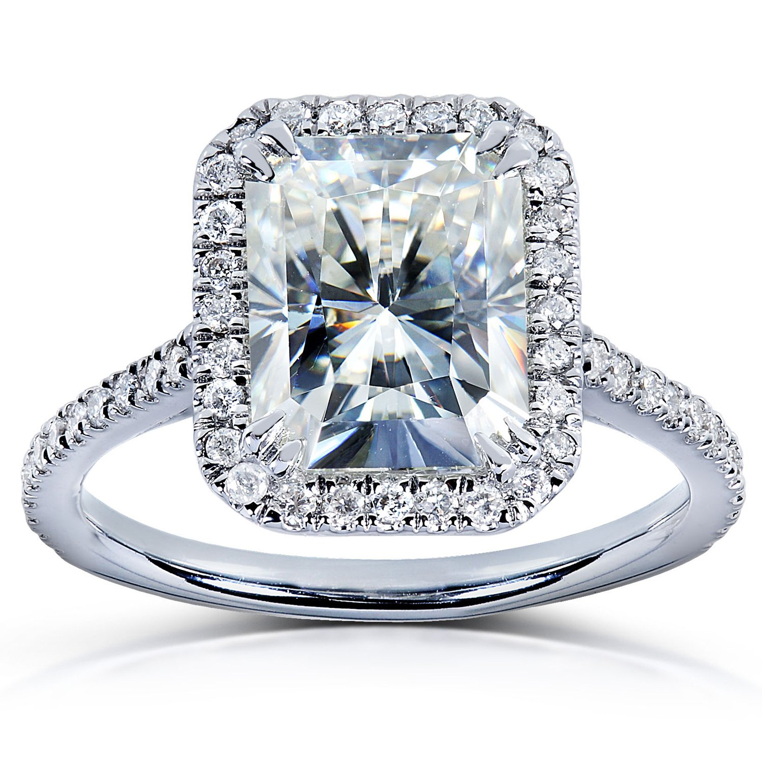 Near-Colorless (F-G) Moissanite Engagement Ring with Diamond 3 CTW 14k White Gold, Size 7