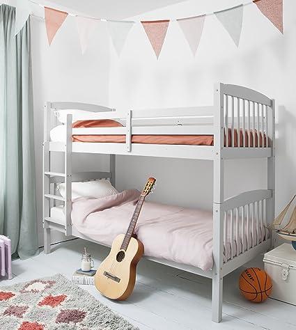 Litera de madera de pino en gris seda, se puede dividir en 2 camas ...