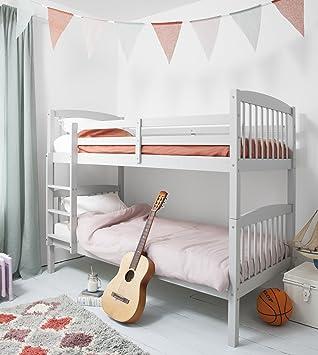 Litera de madera de pino en gris seda, se puede dividir en 2 camas individuales