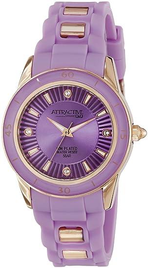 Q&Q Attractive DA43J102Y - Reloj para mujeres, correa de silicona color morado