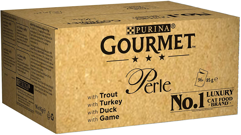 Purina Gourmet Perle húmedo Cat Food, Mini Filetes en salsa, Country Medley, paquete de 96 bolsas