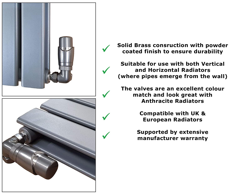 Caldo Anthracite TRV d/'angle et raccords de r/églage Ensemble de robinets thermostatiques pour radiateur