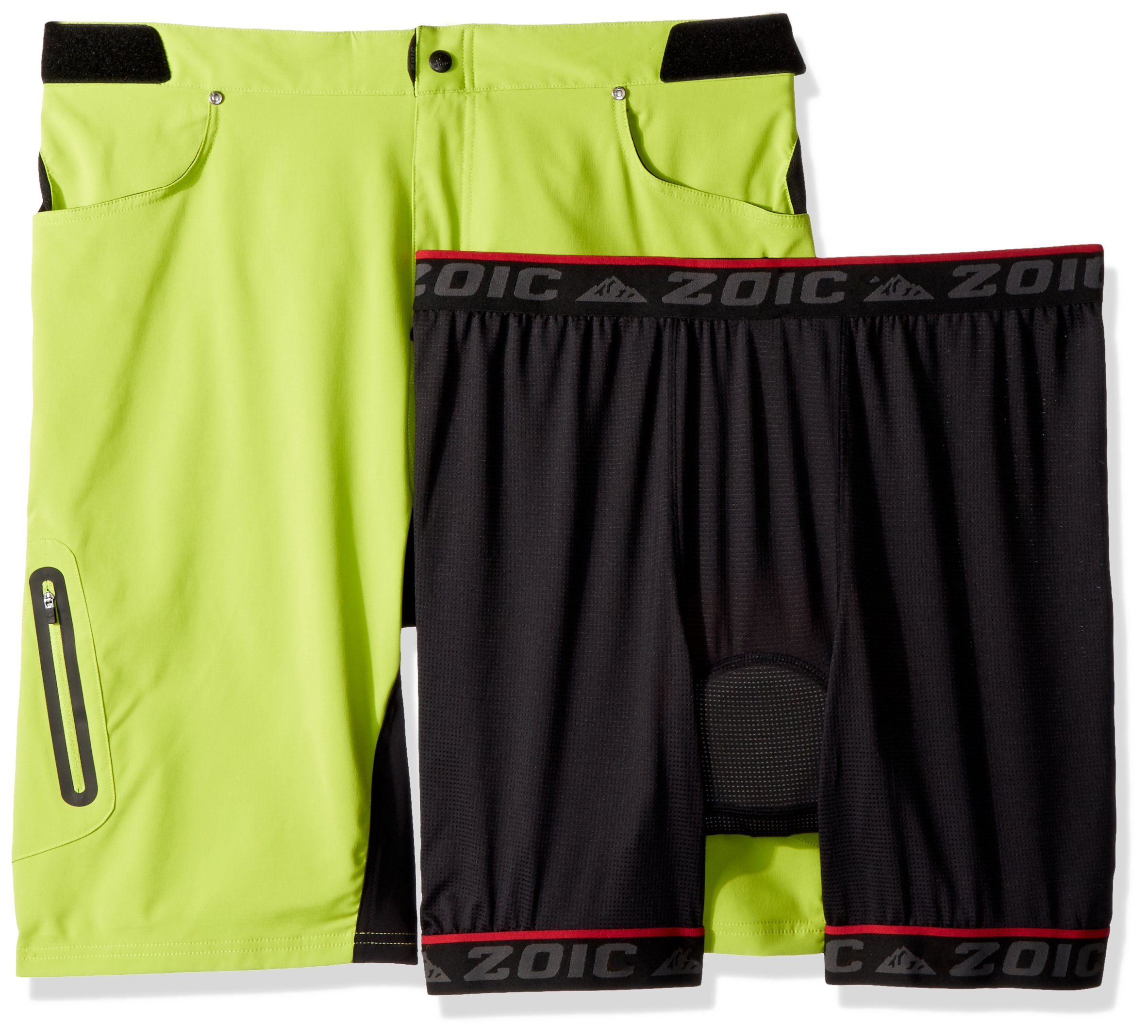 ZOIC Men's Ether Cycling Short + Essential Liner, Atomic, Medium
