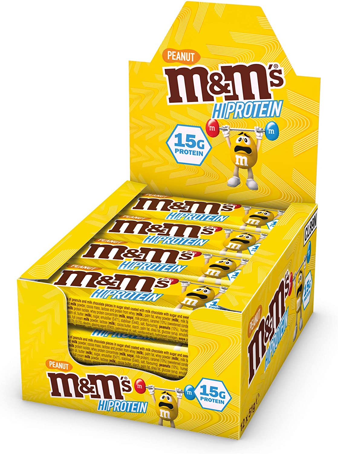 M&M's Hi Protein Peanut Bar (12 x 51g) - High Protein Snack with M&M's, Peanuts, Caramel and Milk Chocolate - Contains 15g Protein: Amazon.co.uk: Health & Personal Care
