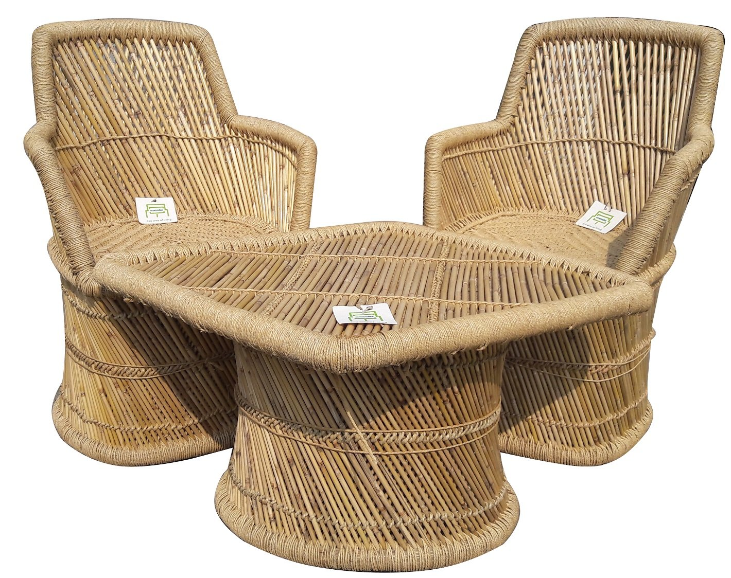Ecowoodies ajuga outdoor furniture for terrace lawn eco friendly sitting bamboo chair furniture set for lawn outdoor garden terrance living room2