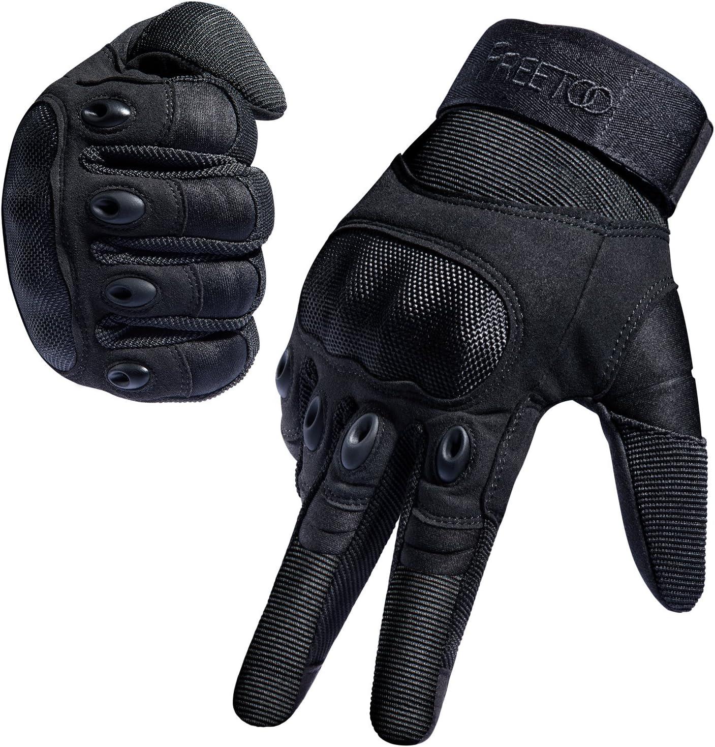 FREETOO Guantes Tácticos Militar para Moto Excursión Bici Ciclismo con Dedos Completos Deportes al aire libre Negro