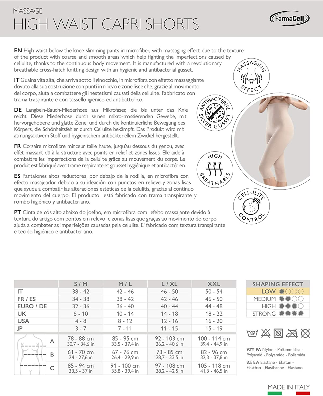Farmacell 123 Guaina massaggiante Vita Alta sotto Ginocchio calzoncino Dimagrante