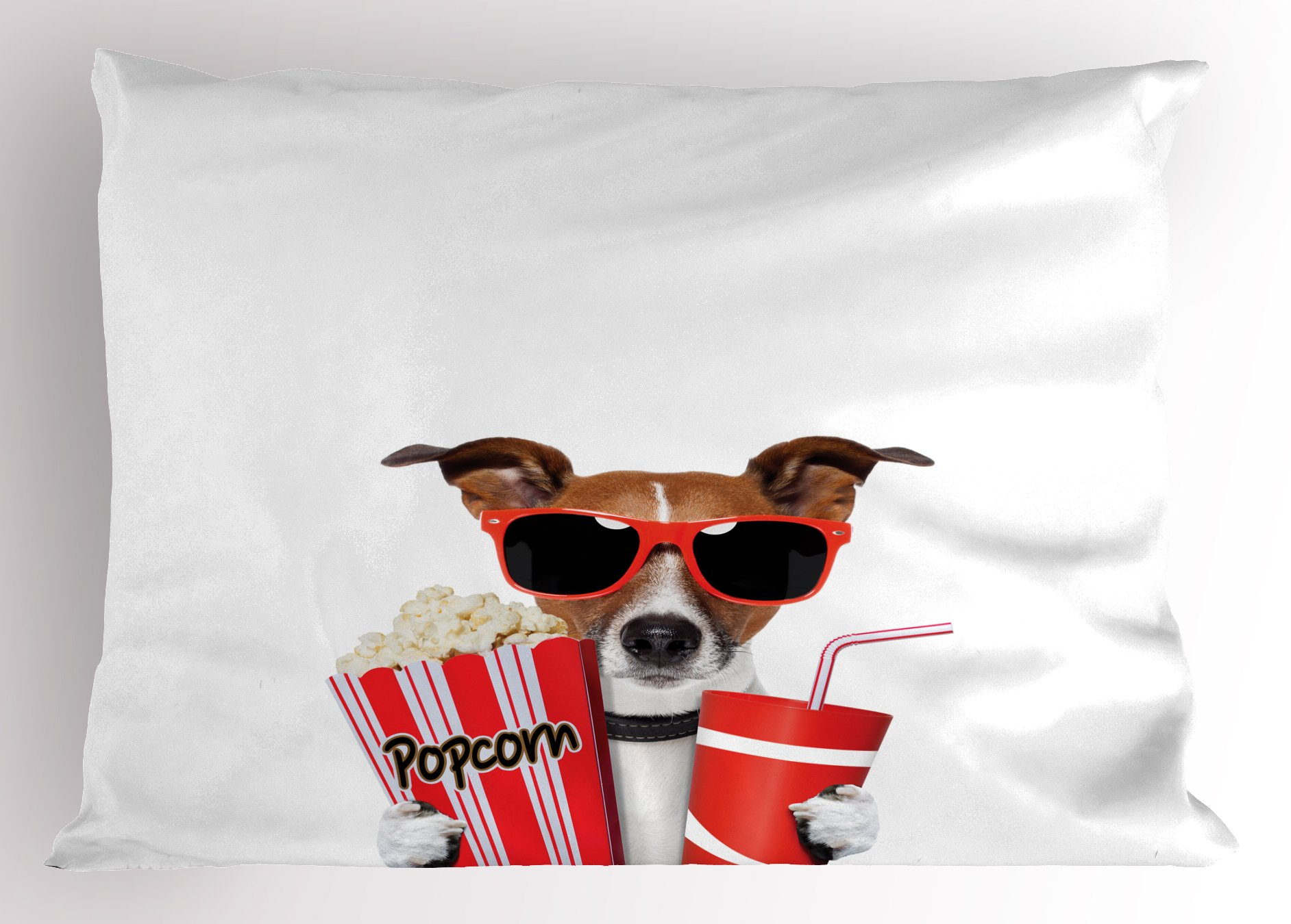 Ambesonne Movie Theater Pillow Sham, Funny Dog Wearing Sunglasses Watching a Movie with Popcorn and Soda Print, Decorative Standard Size Printed Pillowcase, 26 X 20 inches, Multicolor