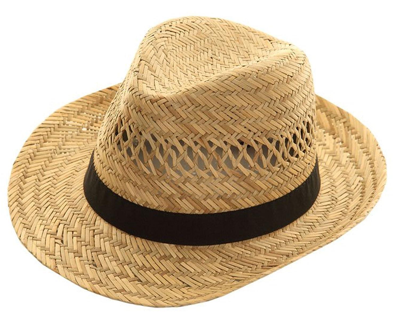 Mens Fedora Natural Straw Wide Brim Black Band Summer Sun Hat (Small  (57cm))  Amazon.co.uk  Clothing 97e81801d4c