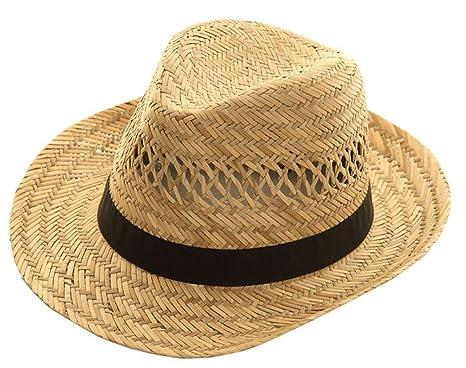 Mens Fedora Natural Straw Wide Brim Black Band Summer Sun Hat Small