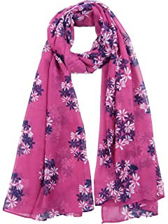 Womens Sketched Flowers Scarf Drawing Floral Dual Tone Soft Long Shawl Fashion