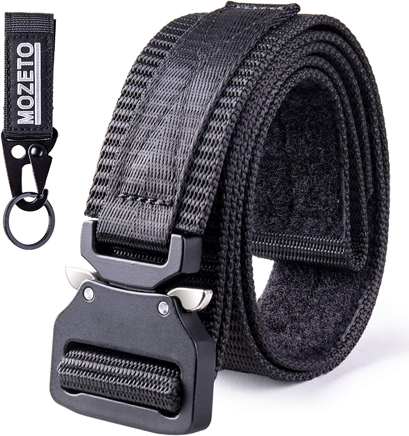 "MOZETO Tactical Belt Velco, 1.5"" Military Style EDC Gun Belts for Men Concealed Carry, Nylon Rigger Web Men's Belt with Heavy-Duty Quick-Release Buckle"