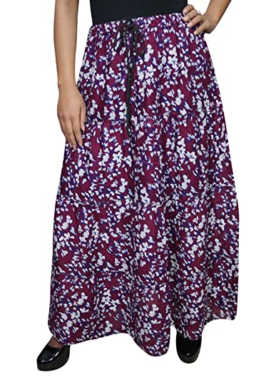 c252057eda Mogul Interior Ladies Boho Skirt Floraldesign Printed Gypsy Resort Style  Freespirit Belly Dance Long Skirts Large: Amazon.co.uk: Clothing