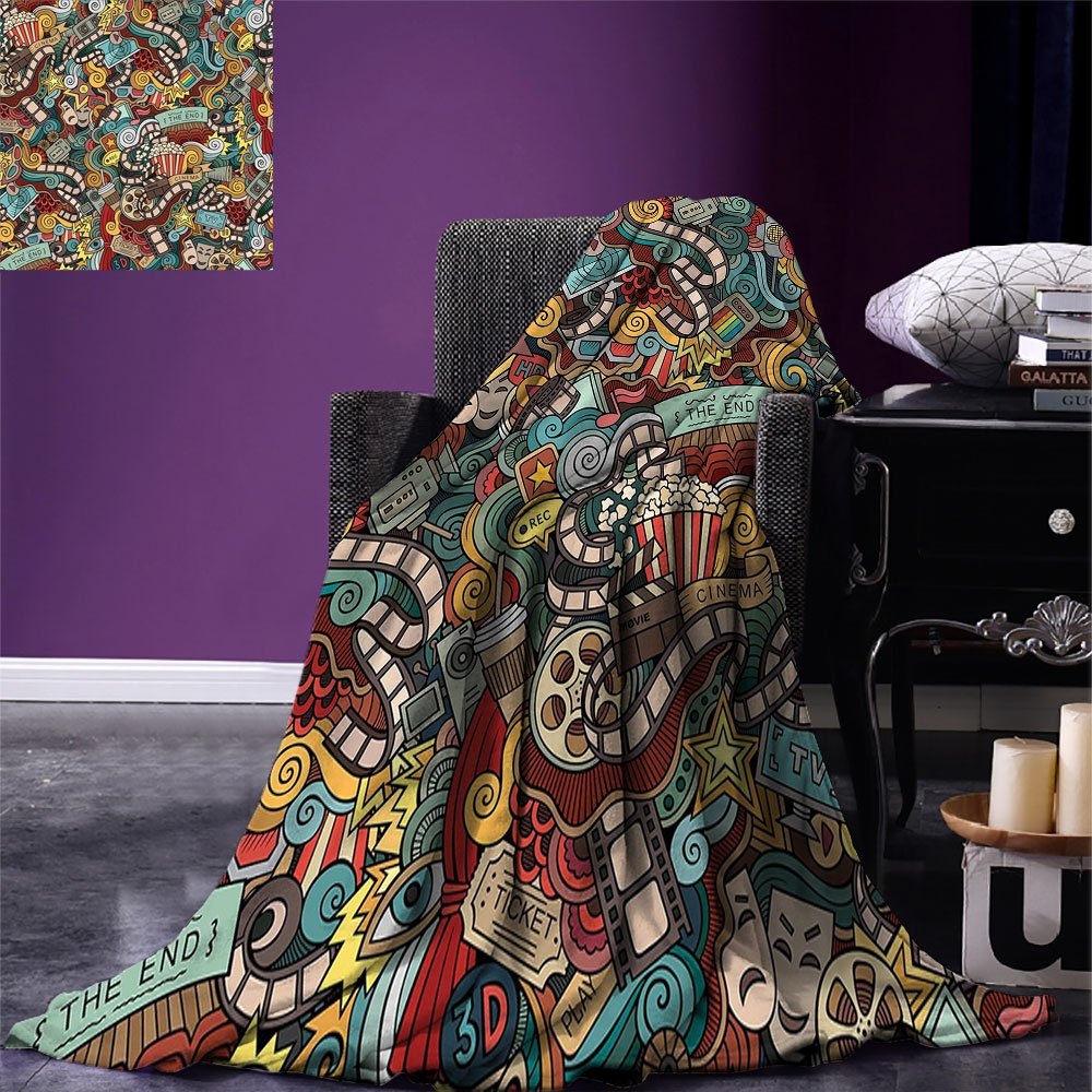 smallbeefly Doodle Custom printed Throw Blanket Cinema Items Combined in an Abstract Style Popcorn Movie Reel The End Theatre Masks Velvet Plush Throw Blanket Multicolor