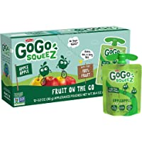 GoGo squeeZ Applesauce, Apple Apple, 3.2 Ounce (72 Pouches), Gluten Free, Vegan Friendly, Unsweetened Applesauce, Recloseable, BPA Free Pouches