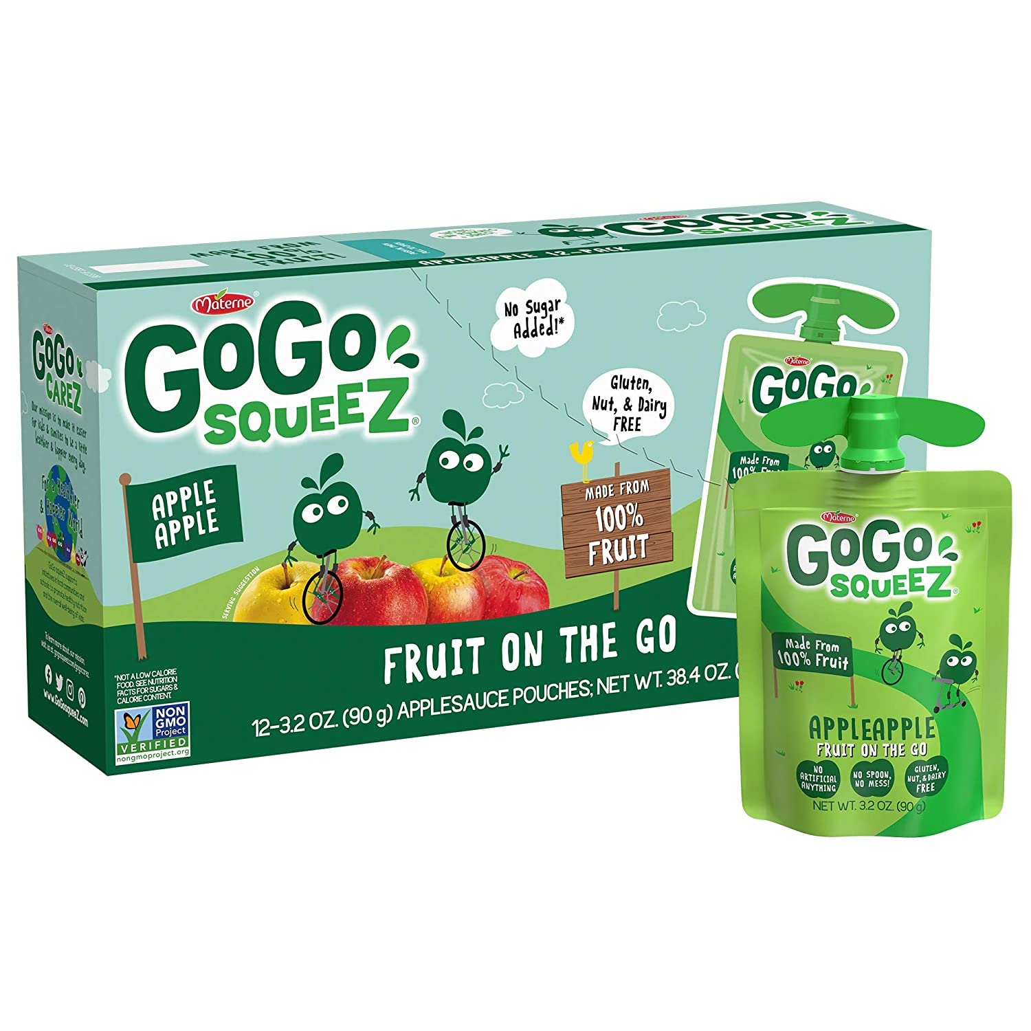 GoGo squeeZ Applesauce on the Go, Apple Apple, 3.2 Ounce (12 Pouches), Gluten Free, Vegan Friendly, Unsweetened Applesauce, Recloseable, BPA Free Pouches (Packaging May Vary)