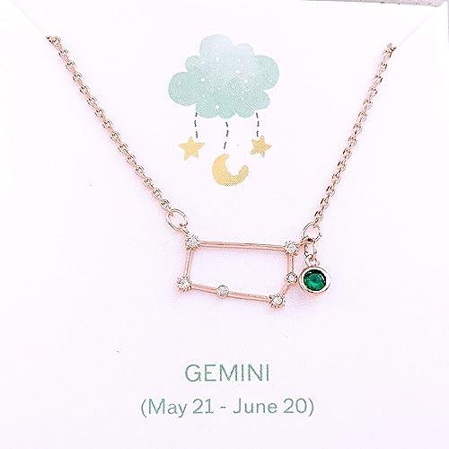 Birthday Gift,Handmade Jewelry-Gemini Gifts for Her Zodiac Necklace Zodiac Jewelry,Personalized Custom Jewelry