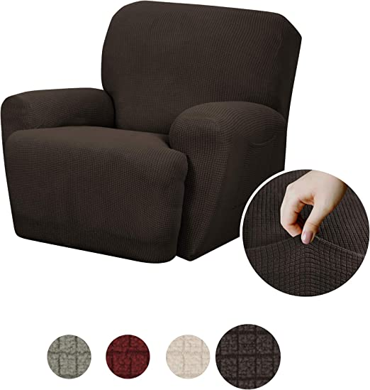 Maytex Reeves Stretch 4 Piece Recliner Arm Chair Furniture Cover Slipcover With Side Pocket Chocolate Brown
