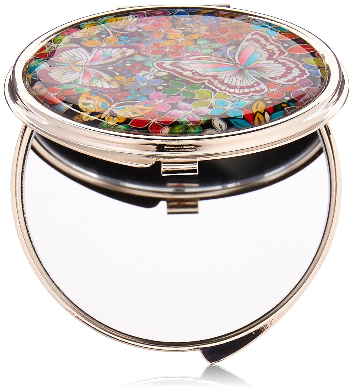 Specchio Compatto Doppio in Madreperla Specchio Tascabile Per Trucchi o Cosmetici Specchio da Borsa o Borsetta Con Motivo Farfalla e Fiori Antique Alive
