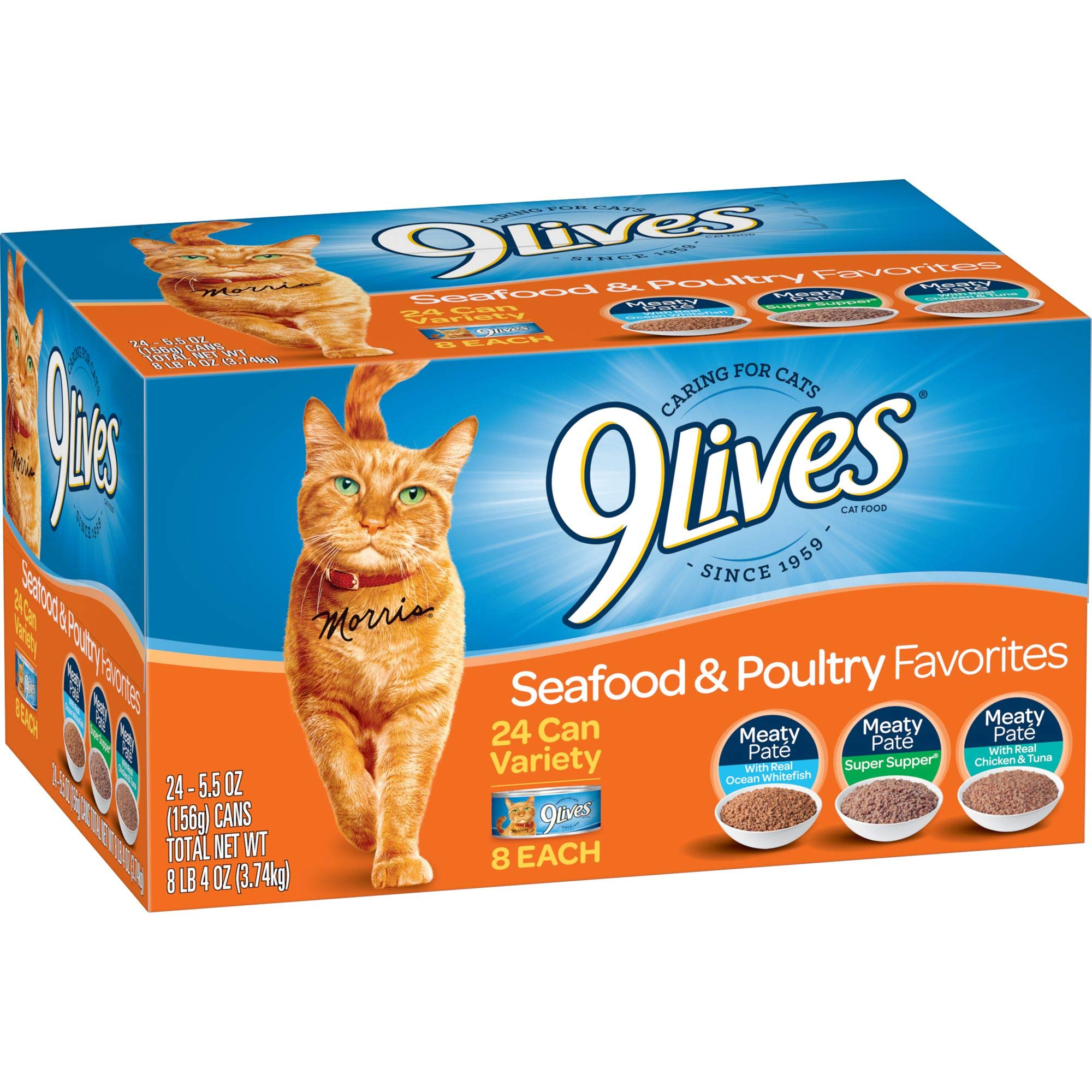 9 Lives Seafood & Poultry Favorites Wet Cat Food Variety (24 Pack), 5.5 Ounce