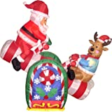 4 Foot Animated Christmas Inflatable Santa Claus and Reindeer on Teeter Totter Outdoor Yard Decoration