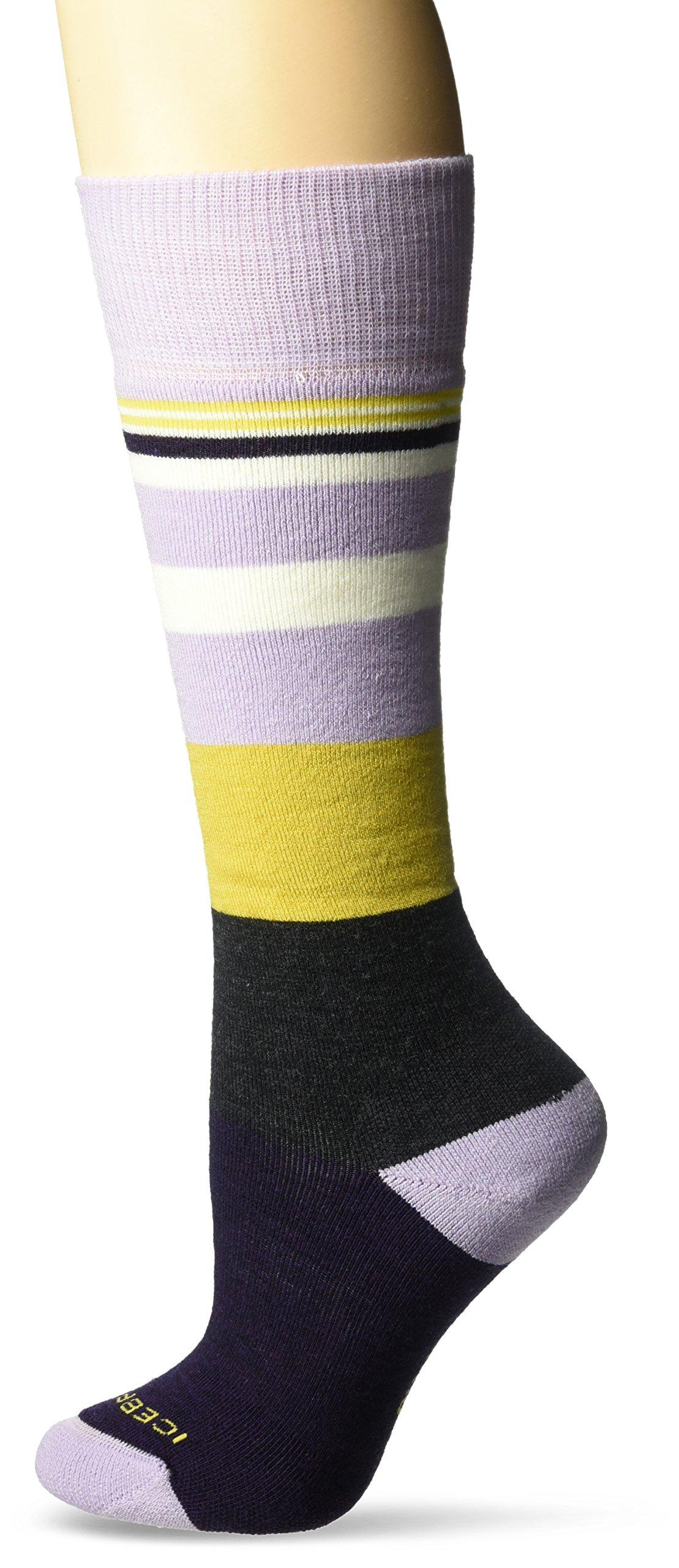 Icebreaker Merino Women's Lifestyle Medium Over The Calf Socks, Silk Heather/Burgundy Heather/Sulfur, Small