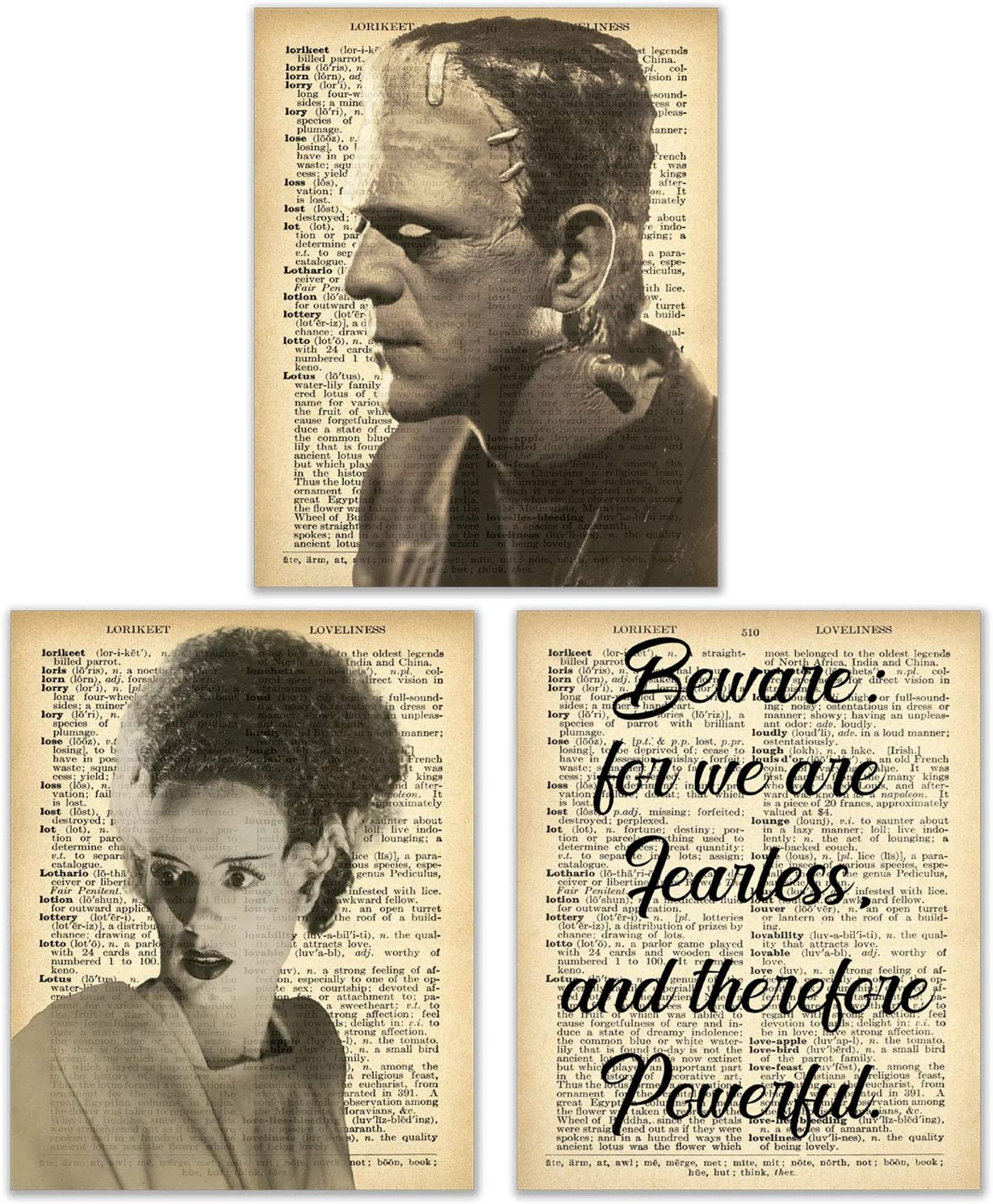 Frankenstein's Monster and Bride of Frankenstein - Set of 3 (8 inches x 10 inches)
