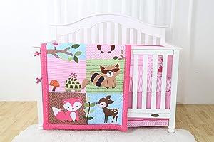 Decotex 4 Piece Animal Fairyland Baby Nursery Crib Bedding Set