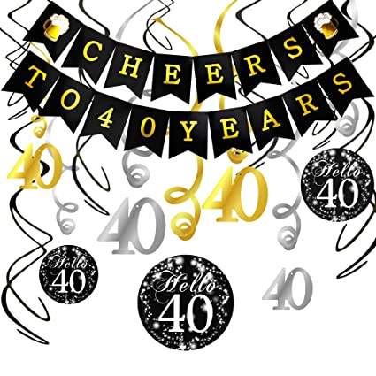 40th Birthday Decorations Kit Konsait Cheers To 40 Years Banner Swallowtail Bunting Garland Sparkling Celebration
