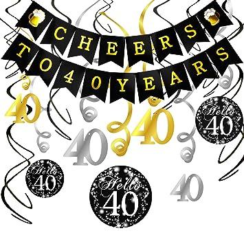 Howaf 40 Geburtstag Dekoration Set Cheers Zum 40 Geburtstag