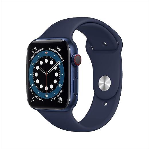 ساعة ابل سيريس 6 جي بي اس + سيليولار ، 44 ملم هيكل أزرق من الألومنيوم مع سوار رياضي كحلي غامق - عادي